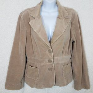 Tan Velour Blazer with Brown Patches on Elbows
